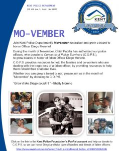 Kent PD Mo-vember fundraiser to benefit WAStateC.O.P.S.